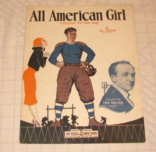 All American Girl Al Lewis Sheet Music College Football Player &Girl