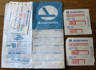 1980 Eastern Ticket Jacket Boarding Pass Baggage