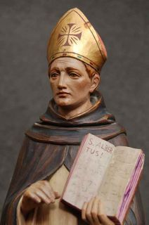 Older Hand Carved Wood Statue of St Albert O P