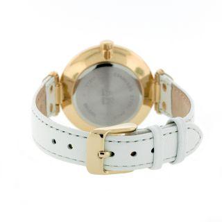 AK Anne Klein Womens 10 9168WTWT Gold Tone Round White Leather Strap