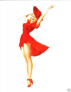 Alberto Vargas Red Dress Sexy Pin Up Girl Print — 02