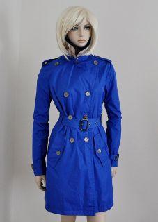 Burberry Nova Check Trench Coat Rain Jacket Blazer Bright Blue Sz 8 42