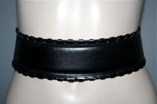 ALAIA PARIS Vintage New Black Leather w Decorative Edges Belt Sz 65 26