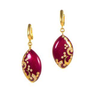Alessandro Fanfani 18K Yellow Gold Red Enamel Diamond Drop Earrings