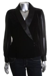 Alex Evenings New Black Collar with Satin Long Sleeves Blouse Jacket L
