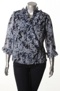 Alex Evenings New Blue Printed Ruffle Side Button Wrap Blouse Top Plus