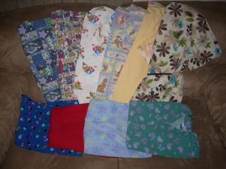 Lot of 10 womens Scrubs Multi Colored and Animated Size Medium and