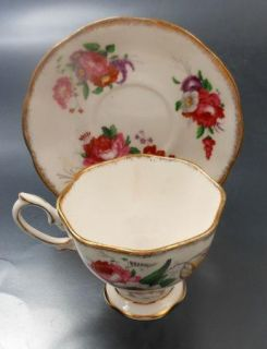 Royal Albert Bone China Cup Saucer England Roses Tulips Windflower