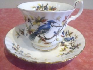 STUNNING ROYAL ALBERT TEA CUP & SAUCER BLUE JAY BONE CHINA ENGLAND
