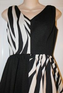 Alfred Werber Black White Knit Zebra Disco Maxi Cher Dress s M