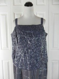 Alex Evenings Womens Size 20WP Long Sleeveless Gown Dress Blue Purple