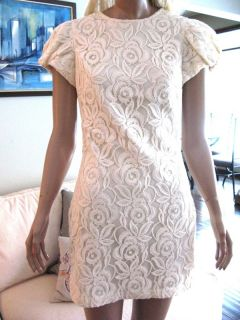 Badgley Mischka Cream Cotton Lace Alexa Chung Mini Dress