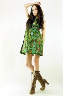 Vtg 70s Ethnic Alfred Shaheen Style Floral Empire Babydoll Mini Dress