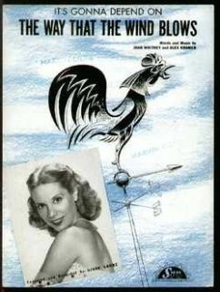 Way That The Wind Blows 1946 Dinah Shore Sheet Music