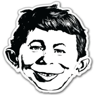 Alfred E Newman Mad Magazine Car Bumper Sticker 4 x 4