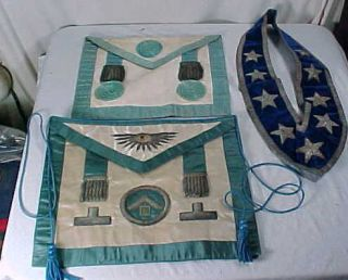 Antique 19th Century Masonic Aprons Sash Lot Alfred M Hasswell