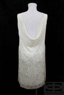 Alice Olivia White Silk Chiffon Beaded Sleeveless Dress Size Small New