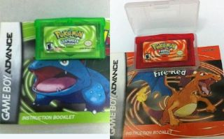 2012 Boy Games 2pc Pokemon LeafGreen FireRed Advance SP DS GBA Game
