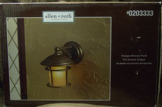 Allen Roth 203333 Outdoor Wall Lantern Sconce Light Antique Bronze