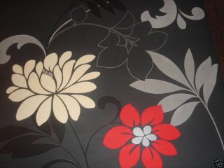 Bold Flower Wallpaper Black White Red and Silver