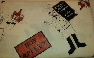 Fat Chef French Bistro PEVA Flannel Back Tablecloth Vinyl 52 x 90