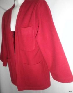 Linda Allard Ellen Tracy Fabulous Red Wool Jacket Size 4P