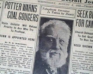 Alexander Graham Bell Telephone Inventor Death 1st Report in 1922 Old