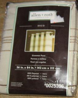 Allen Roth Deco Grommet Panel Drape Curtain Ivory 56x84 New