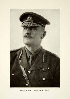 1922 Print Field Marshal Viscount Allenby Jerusalem Uniform Military
