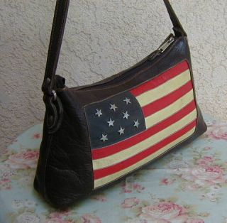 Brown Leather American West Patchwork American Flag Hobo Bag Purse