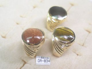 Gemstone Designer Signed Mens Tigers Eye Ring DA834TE