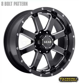 20 x9 726MB Gear Alloy Big Block Black Milled 5 6 8 Lugs Wheels Rims