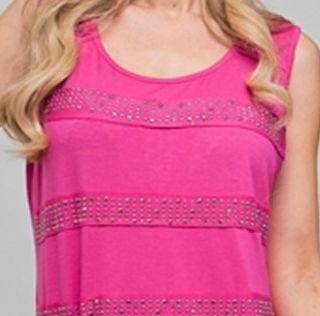 DAMAGED Size 1X TANK TOP SHIRT Womens Plus Pink Sleeveless ROMAN