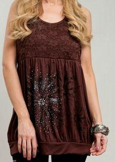 Size 3X TANK TOP SHIRT Womens Plus SLEEVELESS Brown Lace ROMAN FASHION