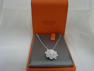 New ALFIERI St John 18K White Gold Diamond Snowflake Brooch Necklace