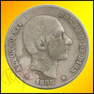 Philippines 20 Centimos de Peso 1885 Alfonso XII Silver Coin
