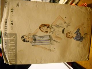 VINTAGE SEWING PATTERN BUTTERICK #7688 WOMENS BLOUSE SIZE 16 BUST 34