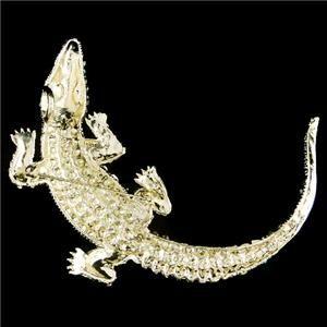 huge 4 4 alligator pin brooch swarovski crystal pink crocodile pendant