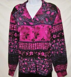 Allison Daley II Sz 16W Mauve Black Print Blouse Straight Style Side
