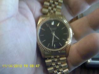 junk drawer find antique Gruen Mens Diamond watch Gold Tone.