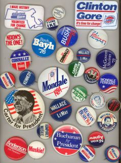 PRESIDENTIAL BUTTON LOT Pinbacks PINS Kennedy STATES RIGHTS Ike CARTER