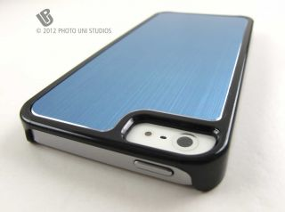 Blue Hard Aluminum Metal Snap on Case Cover Apple iPhone 5 Phone