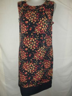Allen B by Allen Schwartz Navy with Floral Print Sleeveless Dress Size