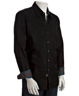 Robert Graham Mens Black Unique Altamont Button Up Long Sleeve Shirt