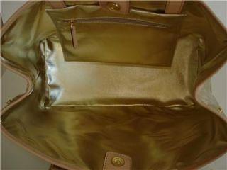 New Michael Kors Amagansett Pale Gold Large Tote Monogram Mirror