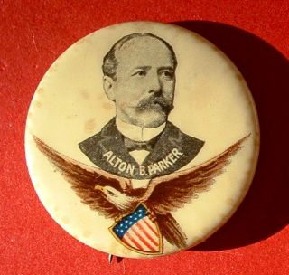 1904 Alton B. PARKER Eagle Shield BP 1 1/4 campaign button pin TR