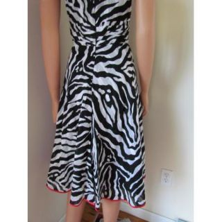 Womens Amanda Lane Black & White Zebra Print Cotton V neck Sleeveless