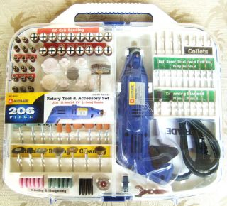 NEW ALLTRADE 206 PIECE ROTARY DREMEL TYPE TOOL ACCESSORY SET NICE