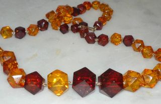 Necklace Two Color Faceted Amber and Cherry Amber Graduated Beads