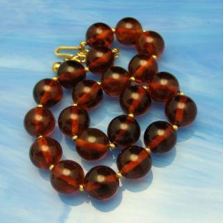 Trifari Vintage Chunky Cherry Amber Bakelite Beads Choker Necklace